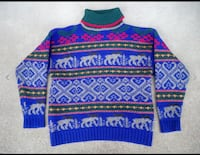 Vintage 1992 Eddie Bauer Mens Moose Nordic Fair Isle Ski Wool Sweater Size L Maple Grove, 55311