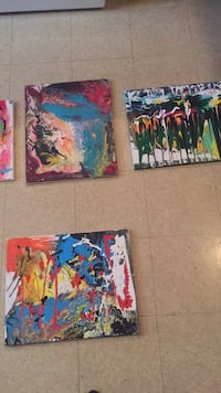 three assorted-color abstract paintings Columbus, 43211