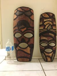 Two brown-and-black tiki masks Mississauga, L4W