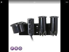 Curling Flat Iron & Blow Dryer Holder with Power a
