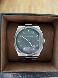round silver Michael Kors analog watch with link b