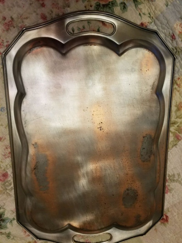 Vintage Silver tone metal etched serving tray 6