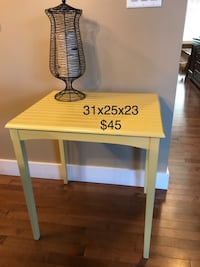 Square yellow wooden side table Edmonton, T6X 0J1