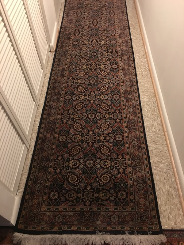 Black and gray floral runner rug