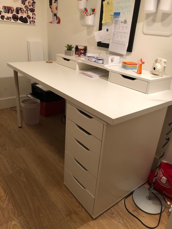 Used Ikea Linnmon Alex Desk With Alex Add On Unit For Sale In