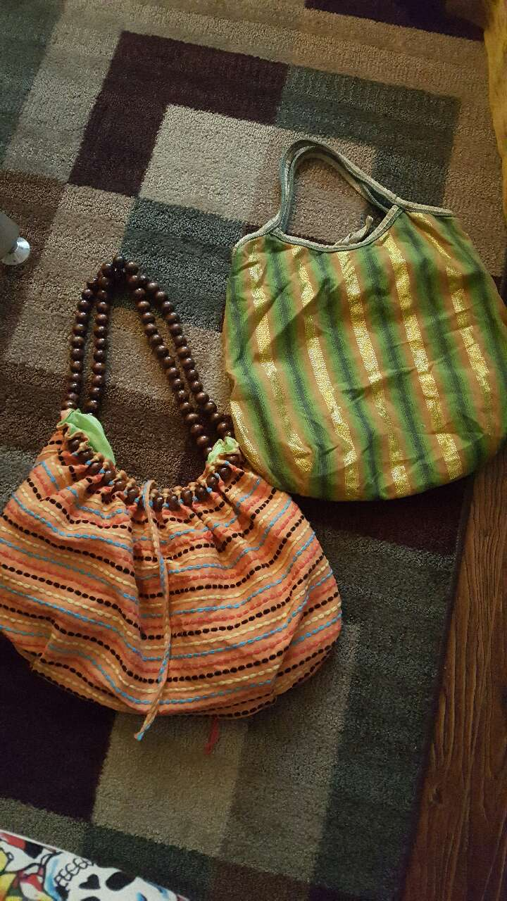 women's two green and pink shoulder bags