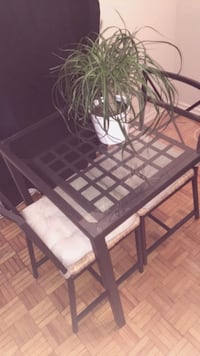 rectangular glass top table with black metal base Oshawa, L1G 3T6