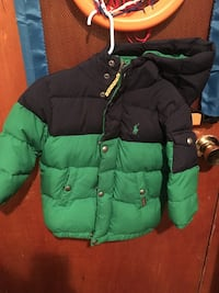 Navy Blue and green bubble button hoodie jacket New York, 11207