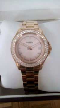 Gold colour Fossil watch...with diamonds extent Toronto, M2P 1N9