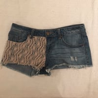 Light wash jean shorts with beige knitted detail Bunker Hill Village, 77024