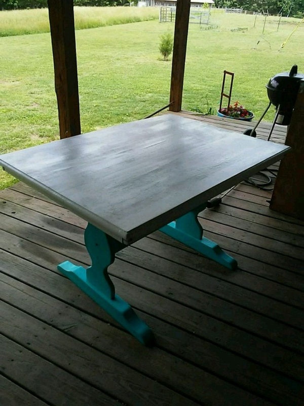 Oak table painted white and turquoise.