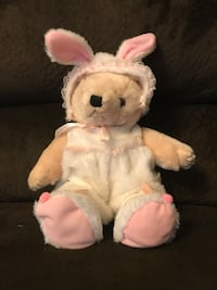 white and pink bear plush toy