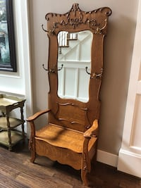 Antique Hall Tree Stand mirrored seat bench