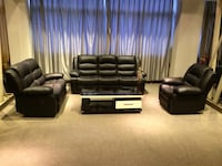 Black genuine leather recliner sofa, love seat and a chair only $1799 Brampton, L6X 4K9