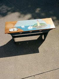 Small nautical bench with lighthouse painted on it Canton, 44718