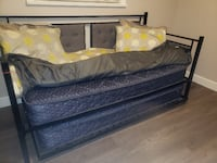 black wooden bed frame with mattress NEWWESTMINSTER