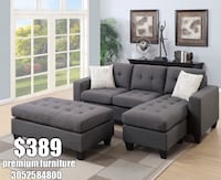 tufted gray fabric sectional sofa Miami, 33170