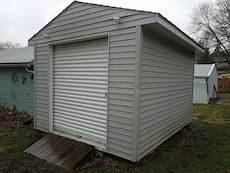 gray wooden shed