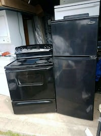 black GE stove with black fridge from Danby Toronto