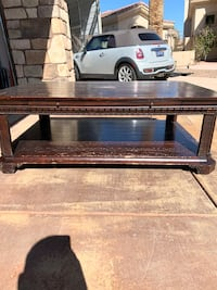 Large solid wood coffee table on rollers Las Vegas, 89149