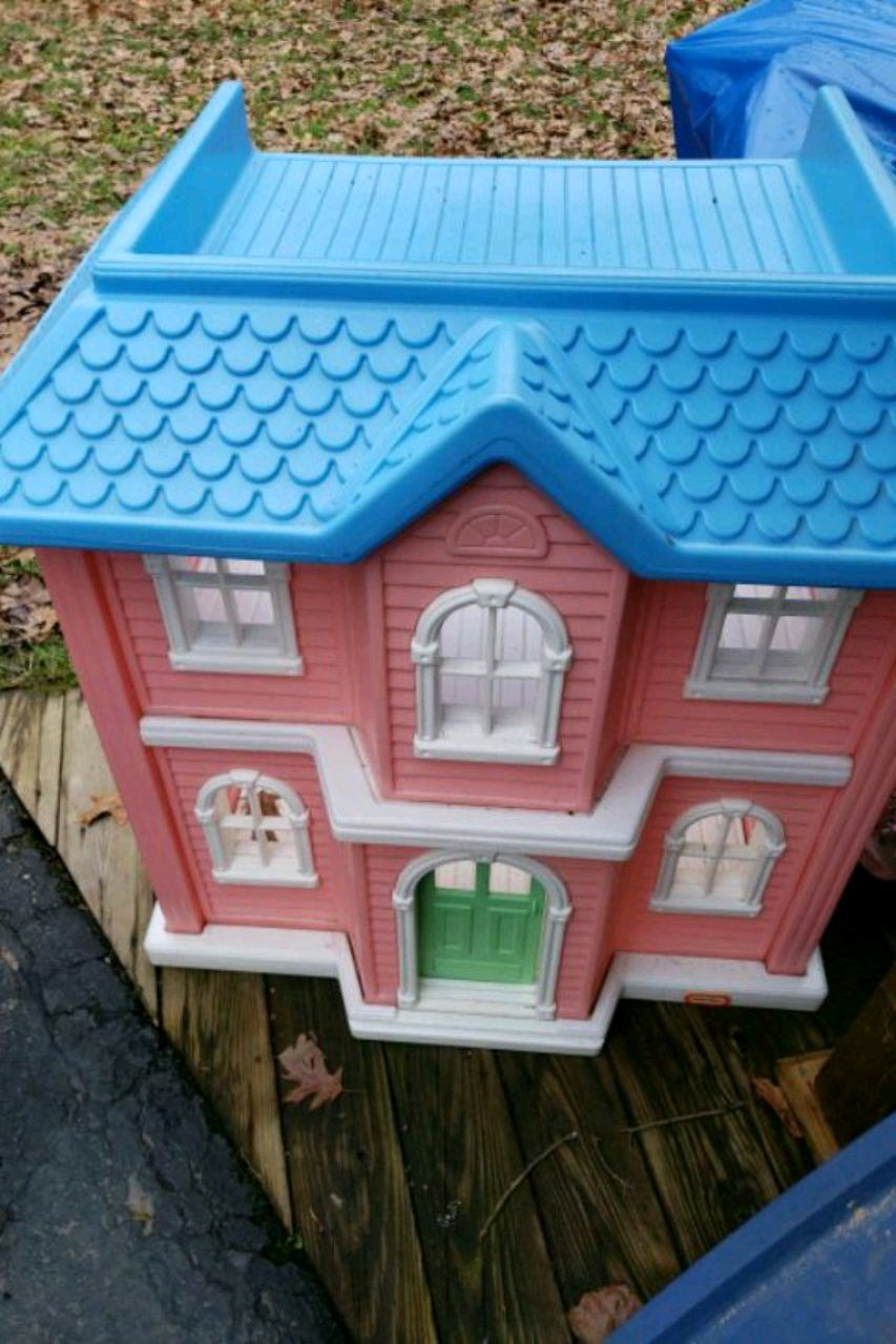 Used, two pink and blue plastic dollhouse for sale  Morrisdale