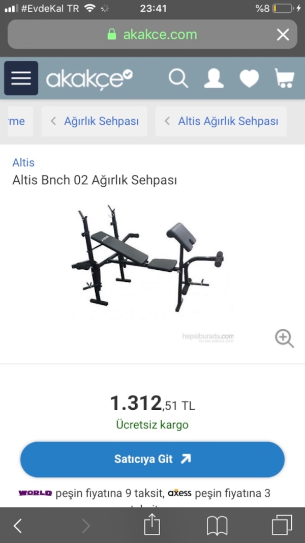 ALTİS BENCH SEHPASI + 55 KG AĞIRLIK 9700ced8-ed4f-417f-9053-aa21381efe7a
