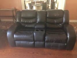 Recliner Love Seat with cup holder and chair