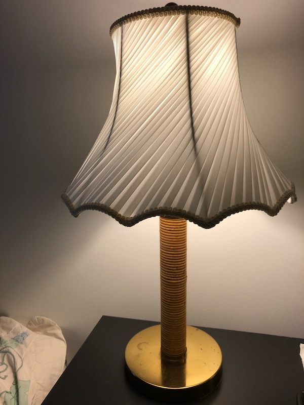 Lamp - white brown gold table lamp