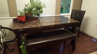 brown wooden framed glass top coffee table Maple Ridge