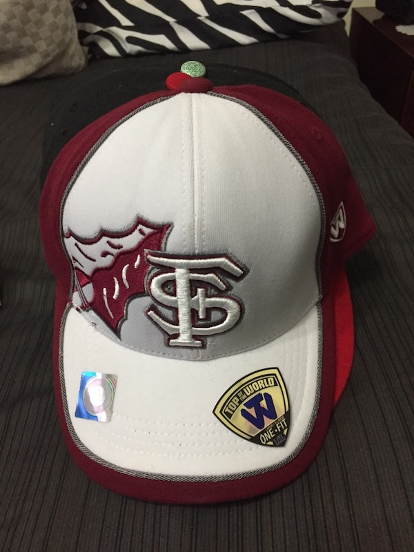 white and red New Era 9Fifty snapback cap