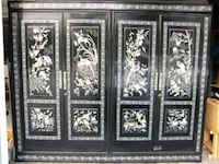 Vintage Asian Mother of Pearl Black Lacquer Armoir Port Orchard