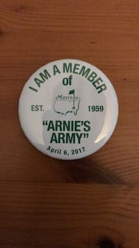 Arnie's Army Pin given out at the 2017 Masters Tournament  Augusta, 30907