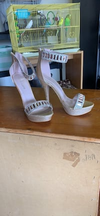 pair of pink open toe ankle strap heels Antioch, 94509