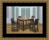 Marble tall table with 4 leather chairs 61 km