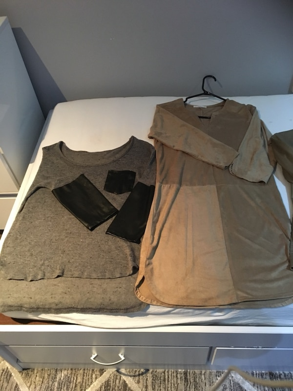 two gray and brown long-sleeved shirt dresses