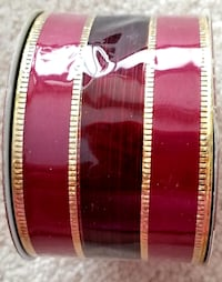 "Ribbon: 2 tone burgundy with gold wired edges & trim 2"" x 9 '"