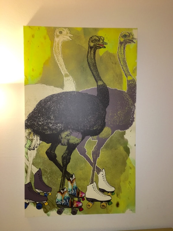 Painting of ostrich wearing roller skates