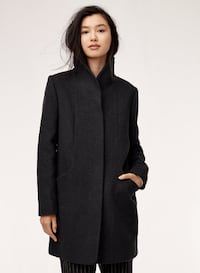 New Aritzia Wilfred Grey Wool Cocoon Coat, Size Small Montréal