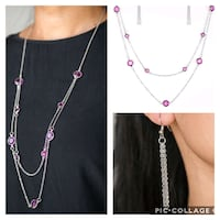 Raise tour glass purple necklace