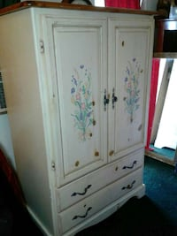 white wooden floral armoire Henderson, 89002