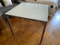 Square Kitchen Table: Glass Top, Metal Legs