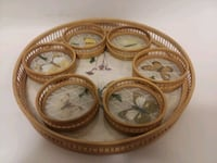 Vintage bamboo butterfly tray & coasters Orlando, 32801