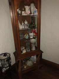 Glass , lighted and wooden hutch with storage Mount Clemens, 48043