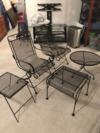 Black iron outdoor patio set with cushions