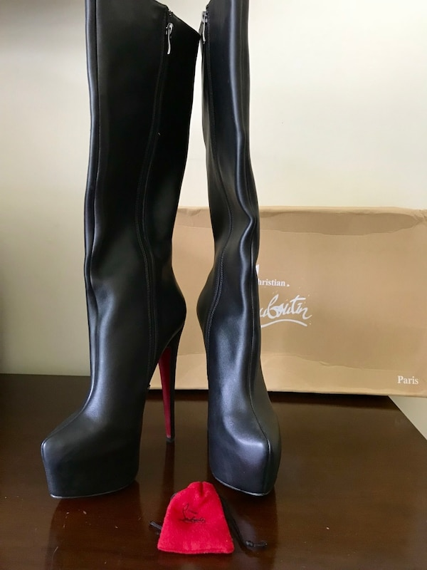 sale retailer b76ba ed47b Christian Louboutin Black Bianca Red Bottom Boots