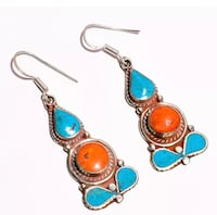 Earrings Red Coral and Green Turquoise Set in Silver Handmade Whittier, 90602