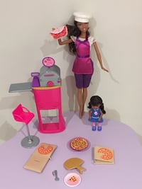 Barbie doll pizza set
