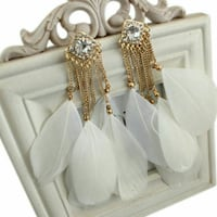 Women's pair of gold-and-white feather earrings Ahmedabad