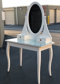 """Gorgeous White Wood Two Drawer Vanity with Mirror 39.5"""" long x 29"""" (desk height) 62"""" from floor to top of mirror x 20"""" deep GLASS TOP! Corona, 92881"""