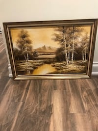 Brown wooden framed painting of trees East Gwillimbury, L0G